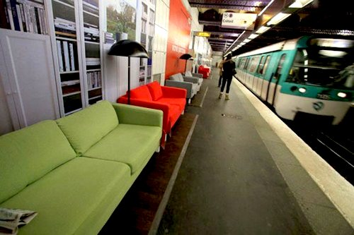 paris subway stations outfitted with ikea furnishings. Black Bedroom Furniture Sets. Home Design Ideas