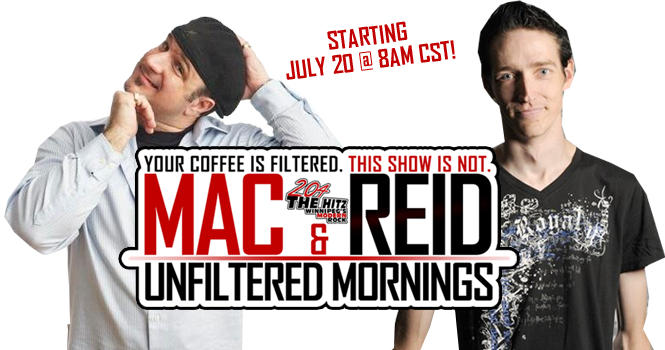 Jimmy Mac and Chris Reid host Unfiltered Mornings on 204 The Hitz.